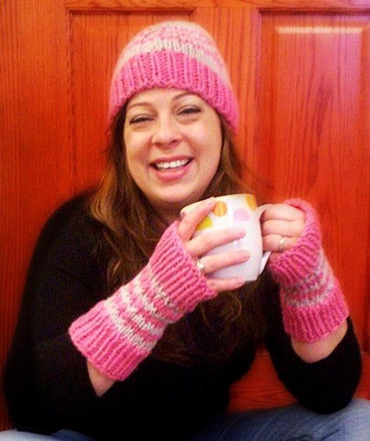 Slip Stitch Strip Hat and Mitts  - Designed by Kat Koeller