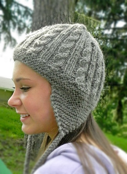 Cables and Earflaps Hat - Designed by Stephanie Taylor