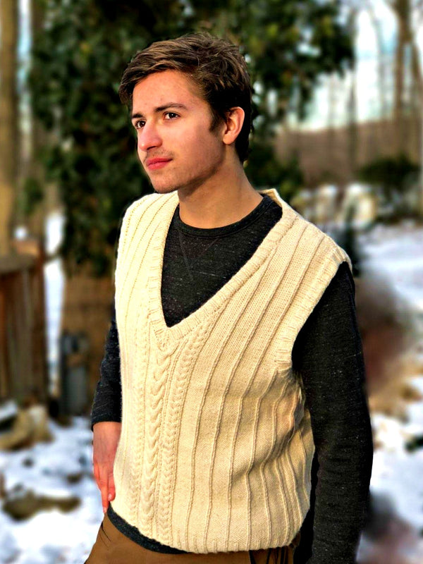 Aran-Inspired Vest - Designed by Kathy Zimmerman