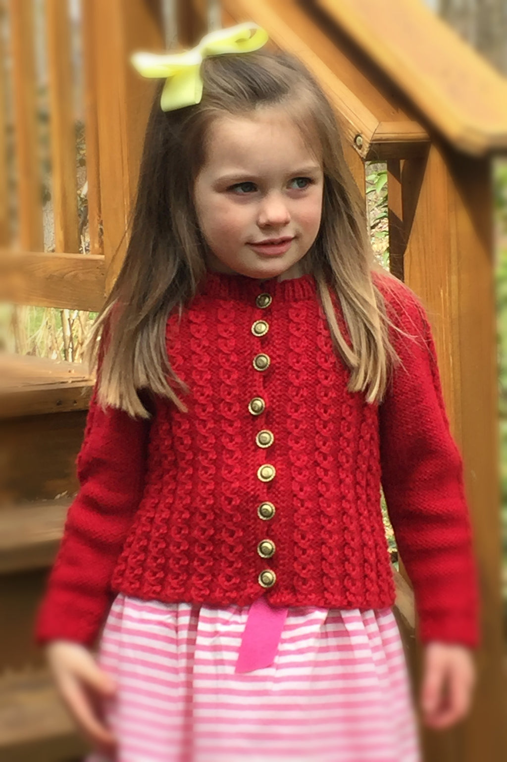 Child's Mock Cable Sweater - Designed by Clara Masessa