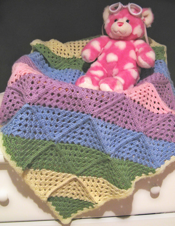 Diagonal Granny Squares Baby Afghan - Designed by Stacey Trock