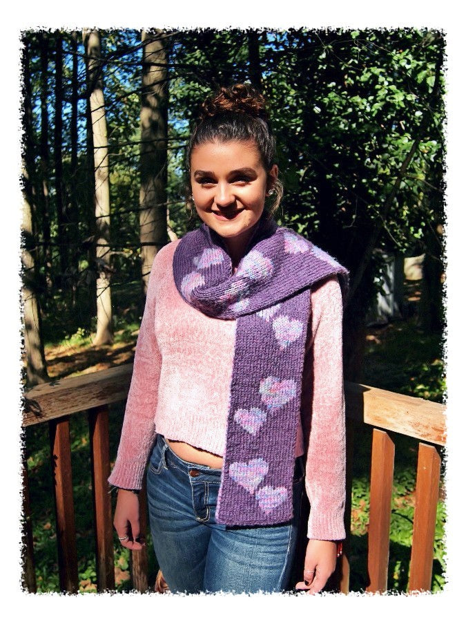 Double Knitted Heart Scarf Designed By Clara Masessa Patterns By
