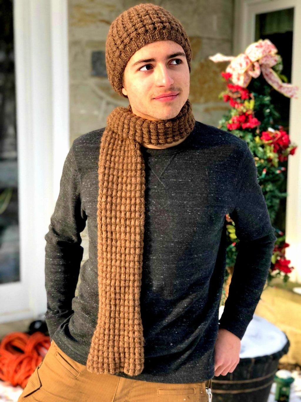 Drop Stitch Hat and Scarf - Designed by Kathy Zimmerman