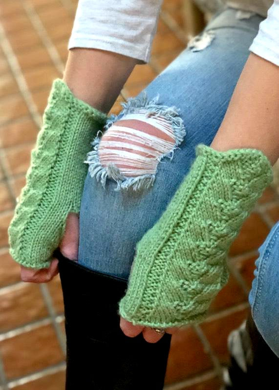 DK Fingerless Mitts - Designed by Clara Masessa