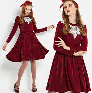277b1df38b Vintage 1960s wine red lace collar velvet fit and flare unique mod  rockabilly 60s 50s dress
