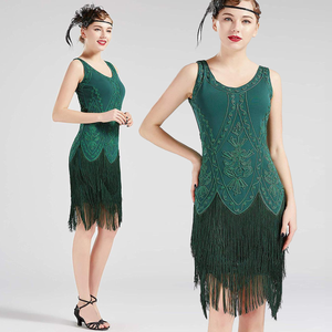 US STOCK Vintage 1920s Green Unique Flapper Dress Roaring 20s Great Gatsby Fringed Dress