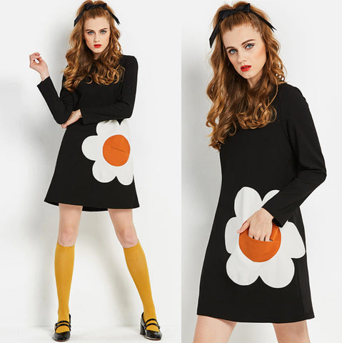 Vintage 1960s 60s MOD Unique Flower Power 1960s GO GO Dress