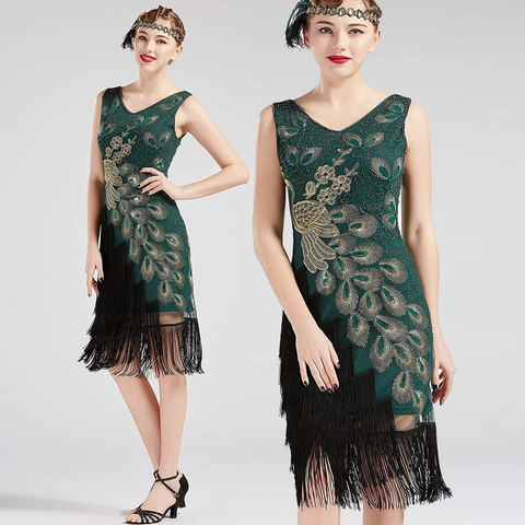 US STOCK Vintage 1920s Vintage Peacock Sequined Dress Gatsby Fringed Flapper Dress Roaring 20s Party Dress