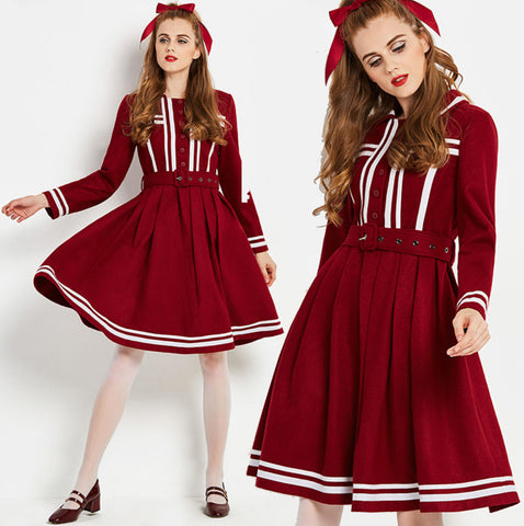 Vintage 1960s wine red fit and flare unique swing dress 1950s 50s 60s
