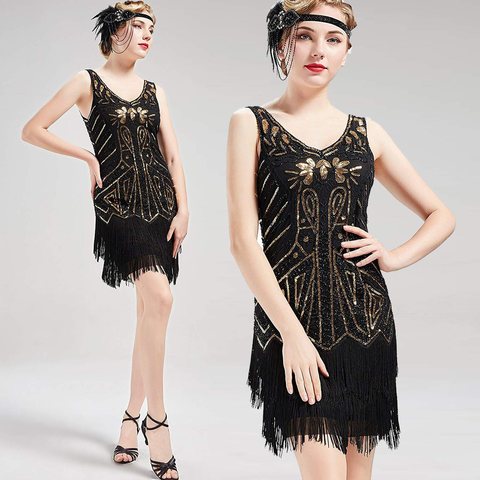 US STOCK Vintage 1920s Unique black and gold Beaded Fringed Great Gatsby 20s Dress