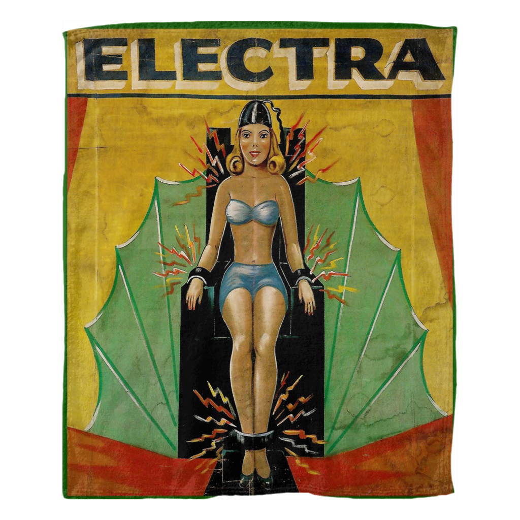 COMING SOON - Antique Freak Show Sides Show Pinup Art banner Premium Sherpa Fleece Blanket