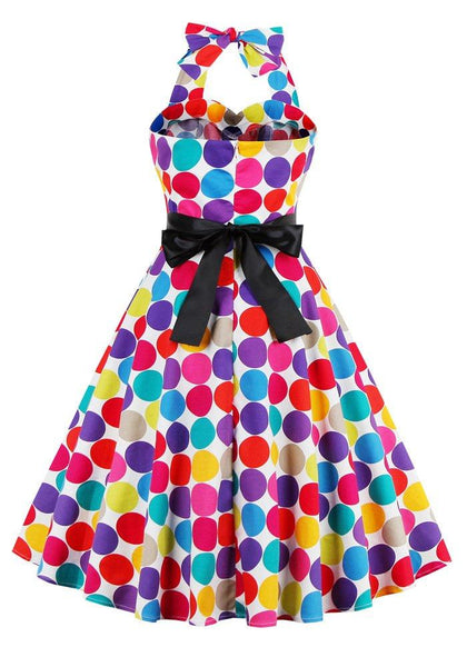 Rainbow Dot Fit and Flare Hater Dress
