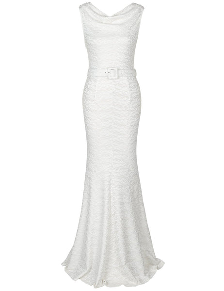US STOCK Lace Mermaid Bias Cut Wedding Dress