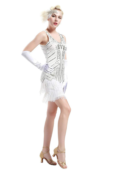 US STOCK Vintage Flapper Unique 1920s White Beaded Fringed Great Gatsby wedding Dress