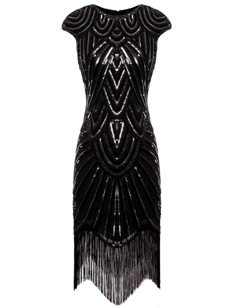 US STOCK Navy Cap Sleeve Beaded Fringe Sequin Deco Flapper Dress