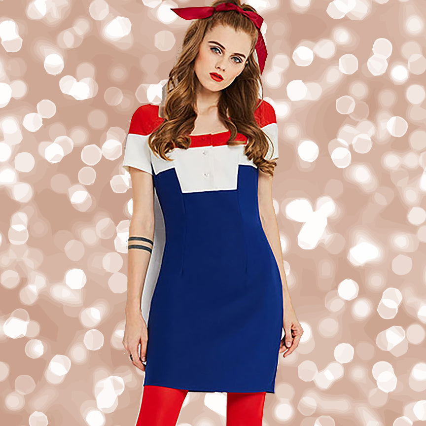 Vintage 1960s Red White and Blue Mini Go Go Mod Dress