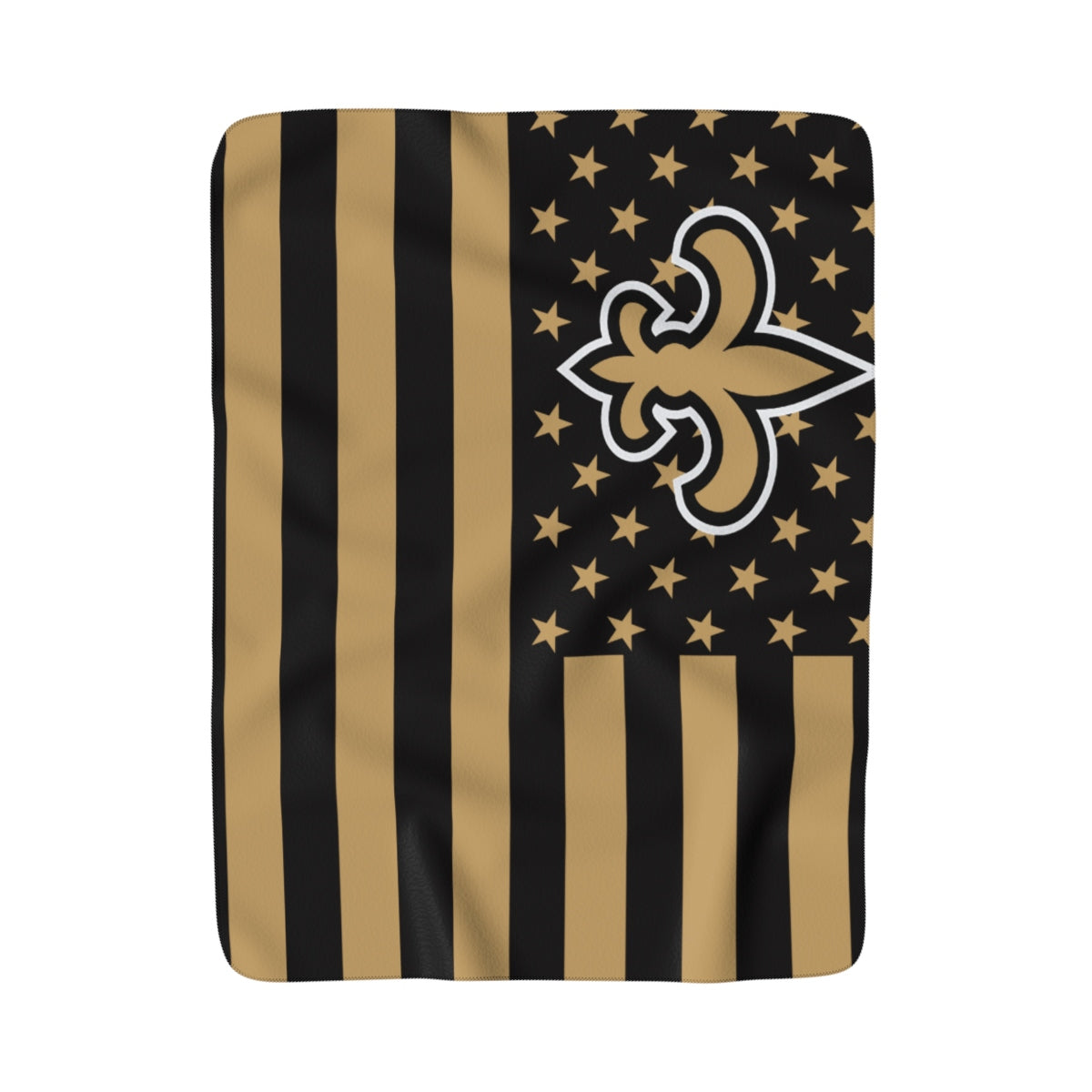 New Orleans Saints Louisiana American flag Sherpa Fleece Throw Blanket 50x60