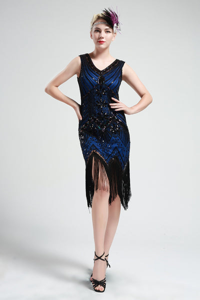 US Stock Black and Blue glass beaded Fringe Flapper Dress