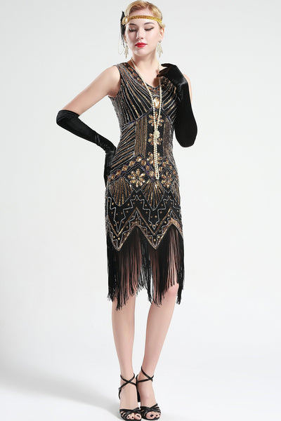 US Stock White and Silver glass beaded Fringe Flapper Dress