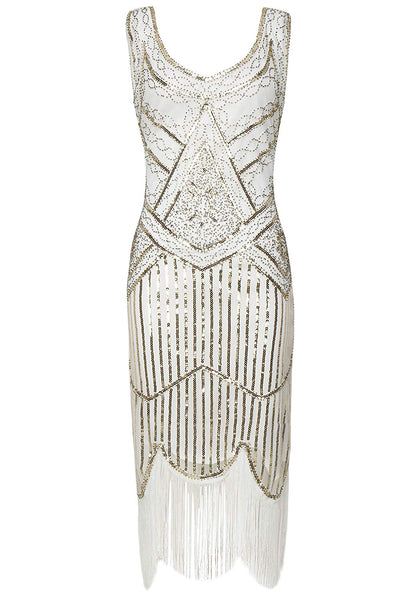 Vintage White Unique 1920s Flapper Dress Roaring 20s Great Gatsby Dress Fringed Sequin Art Deco Dress