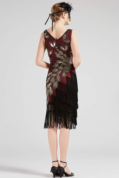US STOCK Vintage 1920s Wine Unique Peacock Sequined Dress Gatsby Fringed Flapper Dress Roaring 20s Party Dress