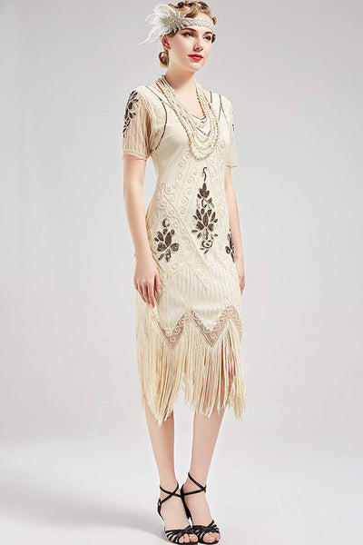 US Stock Unique 1920s Vintage Art Deco Fringed Sequin Dress 20s Flapper Gatsby Dress