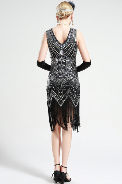 US Stock Black and Silver glass beaded Fringe Flapper Dress
