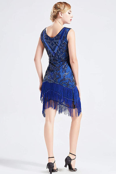 US STOCK Vintage Blue Unique 1920s Flapper Dress Long Fringed Gatsby Dress Sequins Beaded Art Deco