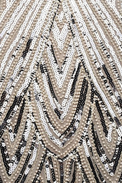 US STOCK White and Silver Flapper Beaded Fringed Great Gatsby Dress