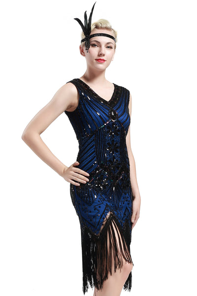 US Stock Black and Gold glass beaded Fringe Flapper Dress
