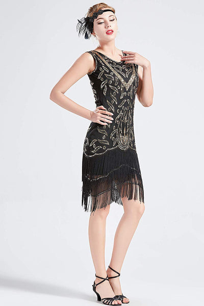 US STOCK Vintage Black and Gold Unique 1920s Flapper Dress Long Fringed Gatsby Dress Sequins Beaded Art Deco