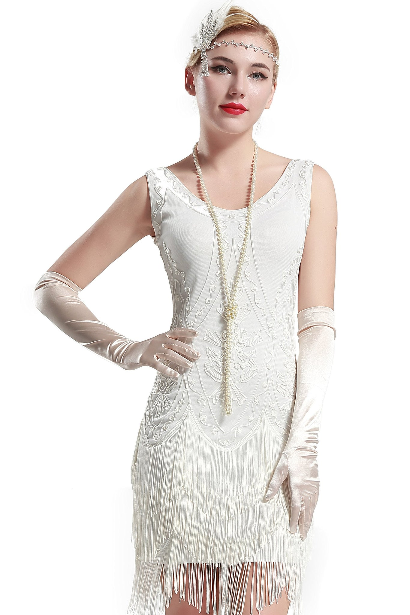 US STOCK White Wedding Beaded 1920s Flapper Dress