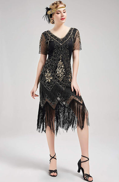 US STOCK Vintage 1920s Unique Black and Gold Art Deco Fringed Sequin Dress 20s Flapper Gatsby Dress
