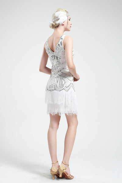 US STOCK White and Silver Sleeveless Flapper Beaded and Sequined Mini Dress