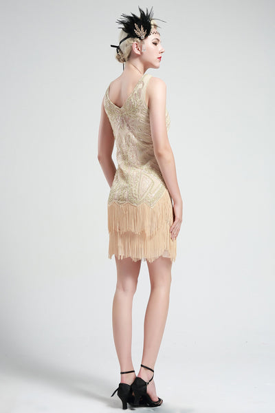 US STOCK Cream White Sleeveless Flapper Beaded and Sequined Mini Dress
