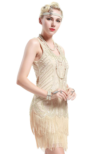 US STOCK Black and Silver Sleeveless Flapper Beaded and Sequined Mini Dress