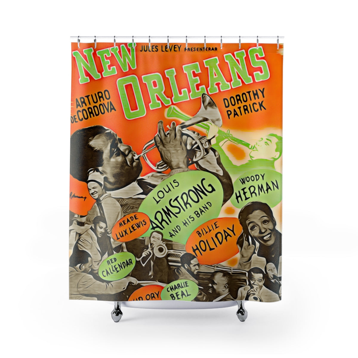 New Orleans Jazz Legends Vintage Poster Louis Armstrong Shower Curtains