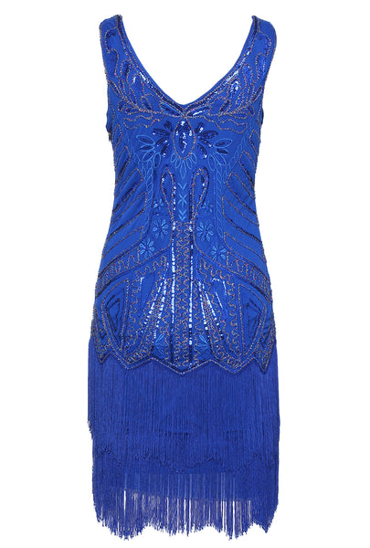 US STOCK Cobalt Blue Sleeveless Flapper Beaded and Sequined Mini Dress