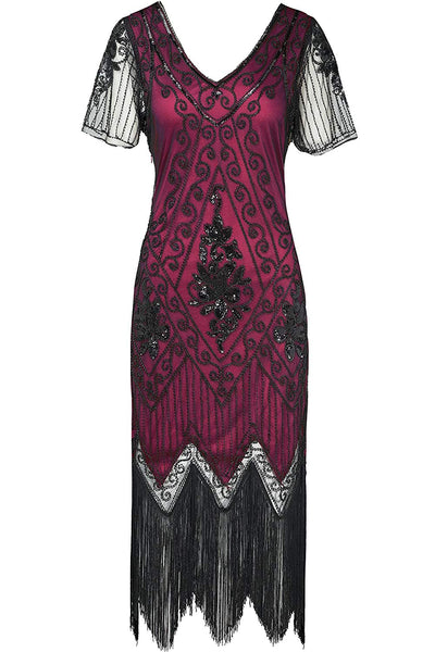US STOCK Vintage Black and Red Unique 1920s Art Deco Fringed Sequin Dress 20s Flapper Gatsby Dress