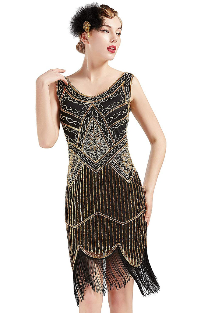 ... Vintage Black and Gold 1920s Flapper 20s Great Gatsby Dress Fringed  Sequin Art Deco ... d713bbd3c632