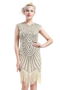 US STOCK Black and Blue Flapper Beaded Fringed Great Gatsby Dress