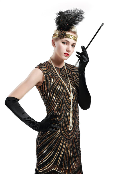 US STOCK Black and Gold Flapper Beaded Fringed Great Gatsby Dress