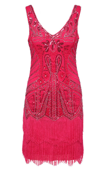 US STOCK Rose Pink Sleeveless Flapper Beaded and Sequined Mini Dress