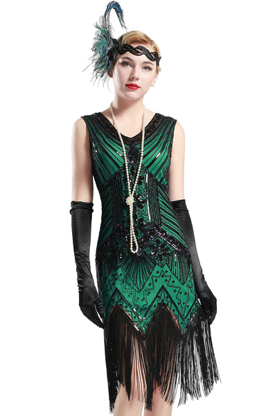 US Stock Black and Green glass beaded Fringe Flapper Dress