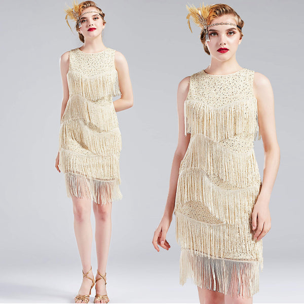 NWT Cream sequin beaded deco flapper dress ALL SIZES