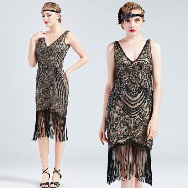NWT rainbow sequin beaded deco flapper dress ALL SIZES