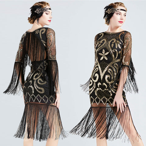 Black sequin beaded deco flapper dress ALL SIZES