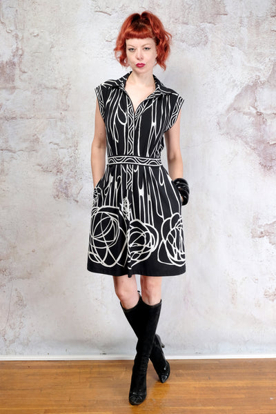 Black and white BCBG op art dress Medium