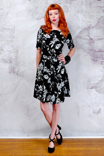 NWT Vanity Room black and blue floral a-line dress Small