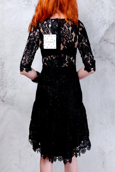 NWT Hello Molly black lace fishtail dress XS